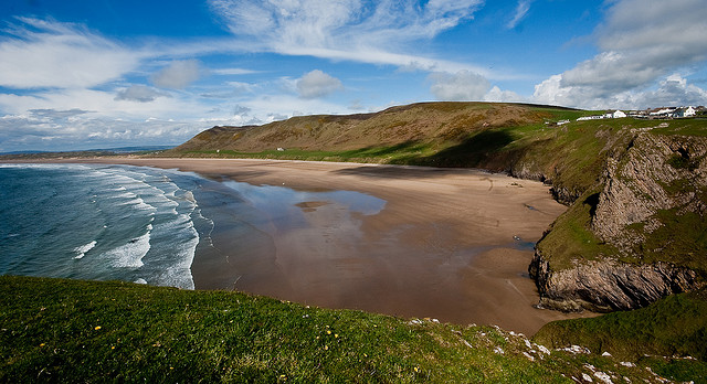 Rhossili Bay beach near our Gower holiday cottages