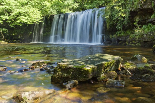 A waterfall at Lower Ddwili Falls in Brecon Beacons National Park
