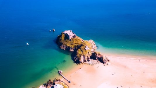 An aerial view of St Catherine's Island in Tenby, Wales